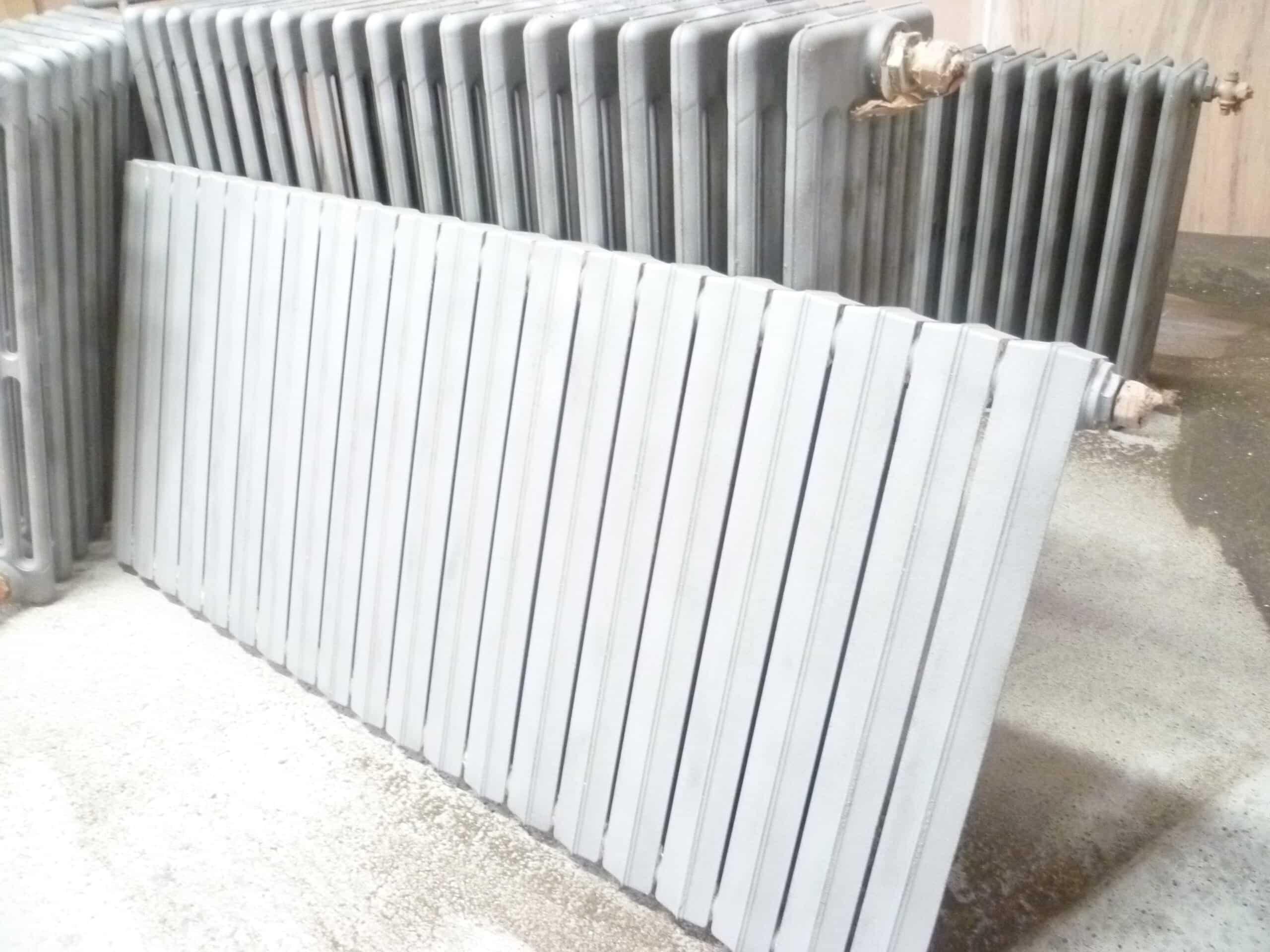 décapage par sablage de radiateurs en fonte