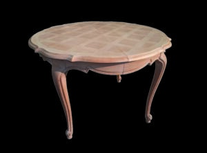 table ronde en merisier décapée par aérogommage